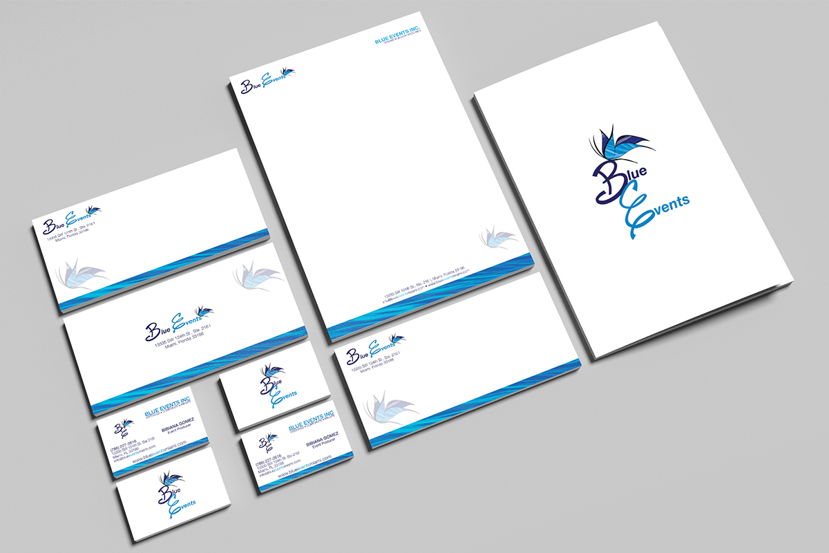 Blue Events business branding