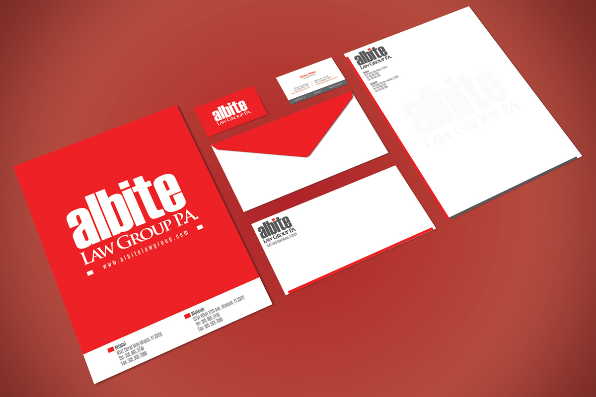 Albite Law Group Coral Gables stationary and collateral design