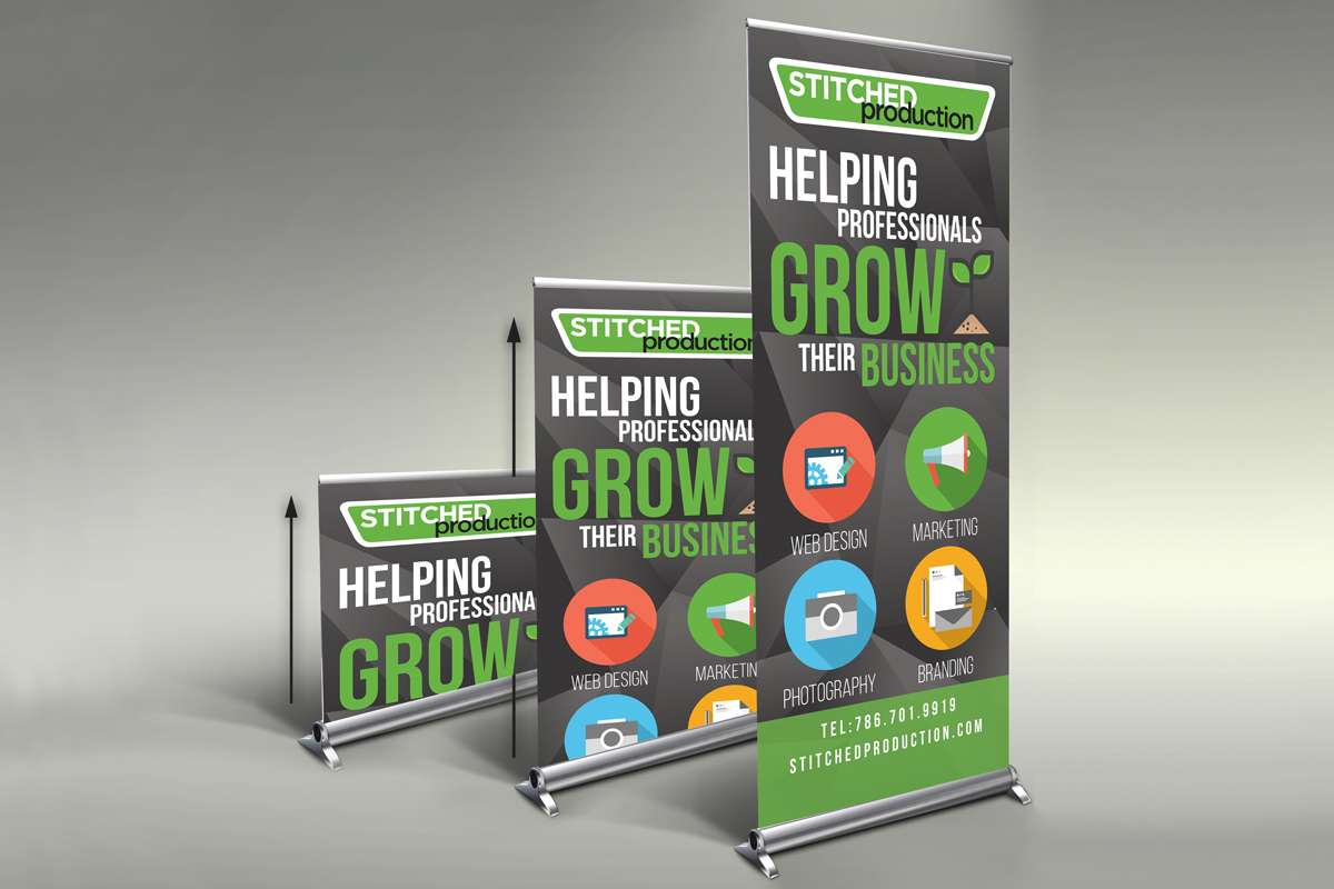 Stitched Production pull-up banner design sample